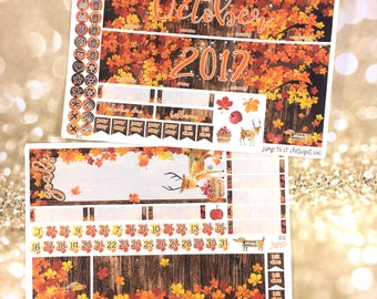 October Fall monthly view spread -for Happy Planner classic & Erin Condren Vertical Horizontal Planners sticker-  medium woodland autumn