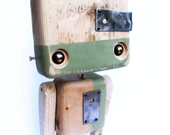 Reclaimed wood - two-tone olive green robot