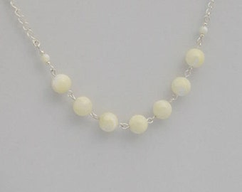 White Mother of Pearl gemstone bead and silver link necklace