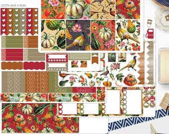Planner Stickers Pheasants Weekly Kit for Erin Condren, Happy Planner, Filofax, Scrapbooking