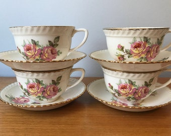 """Made in England VintageTea Set, Johnson Brothers """"Old English"""" Pink & Yellow Rose Tea Cups and Saucers, Set of Four Gold Rim Teacups"""
