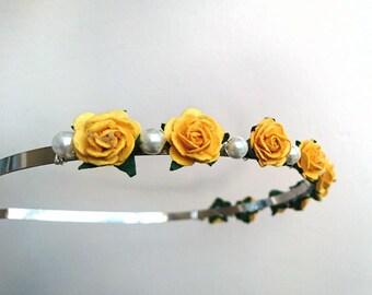 Yellow Tiara Pearl HairBand Rose Crown Bridesmaid Tiara Yellow Wedding Tiara Flower Crown Wedding Hair Bridesmaid Hair Flower Girl Tiara