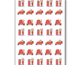 Red Car Planner Stickers, Character Stickers,  Gas Pump Stickers, Car Maintenance Sticker, Car payment, Car repair, Car insurance, Car bills