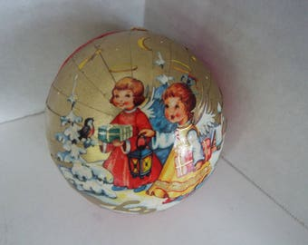 vintage German gold paper mache candy container Christmas ornament angels