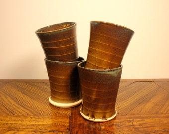 Dark Blue/Brown Ceramic Cup, wheel thrown