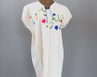 Vintage Hand Embroidered Mexican Cotton Dress Swan Embroidery