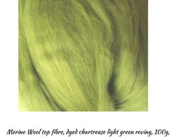 Chartreuse light green Merino Wool Roving, dyed , for Needle felting, Wet felting, One Only, Chartreuse Wool Roving,Great Prices, DETASH