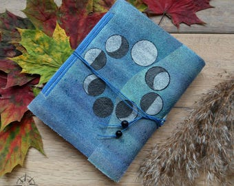Moon Phases journal, leather moon journal, book of shadows, suede leather blue moon journal, metallic leather notebook, leather bound diary