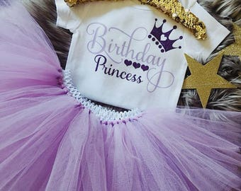 Baby TUTU set - Toddler Tutu set - Birthday tutu set - Cakesmash set - Purple Tutu - Pink TUTU - First Birthday tutu - 1st birthday onesie®
