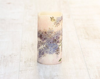 Lilac Flower Pillar Candle With LED Light, Whimsical Battery Operated Flameless Candle, Birthday Gift For Grandma, Mothers Day Gift