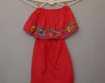 Short Dress - Shoulder off - Embroidery - Flowers - Handmade - Mexican - Cinco de Mayo - Ethnic - Boho - Red