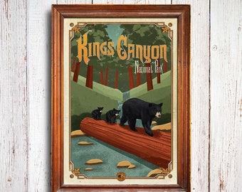 Kings Canyon poster, Kings Canyon National Park , Kings Canyon bear, Sequoia art print, Kings Canyon trees, Kings Canyon black bear