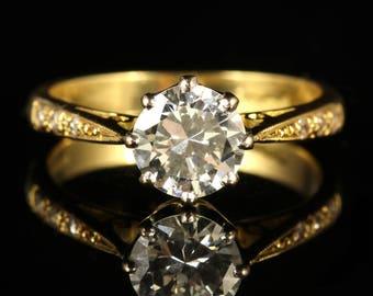 Vintage Diamond Solitaire Engagement Ring 1.30ct Diamond 18ct Gold