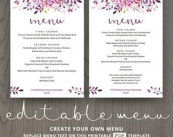 Printable menu cards, do it yourself DIY, card template, wedding luncheon buffet dinner templates, pink purple flowers editable PDF DIGITAL