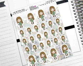 "ABIGAIL - ""I Love My Coffee!"" Decorative Planner Stickers from the Little Luna and Friends Collection Series"