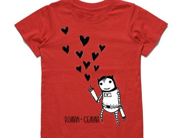 "ROBOT LOVE"" Baby/Toddler Tee (Red)"