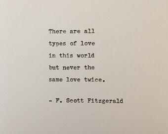 F. Scott Fitzgerald love quote hand typed on antique typewriter gift girlfriend boyfriend husband wife wedding present birthday christmas