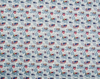 "Bus Printed Cotton Fabric, White Fabric, Home Decor, Dress Fabric, Sewing Accessories, 49"" Inch Fabric By The Yard ZBC7432A"