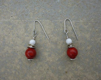 Earrings with Pearl red coral and White Pearl