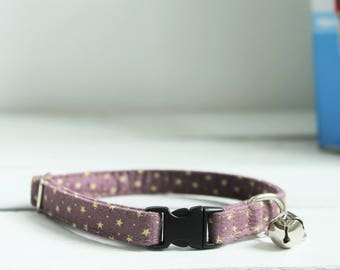 Cat Collar Purple Stars - breakaway clip with metal slider - optional bell