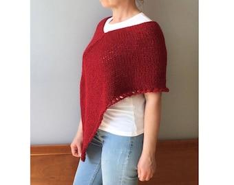 Knit alpaca poncho, Summer poncho, Red poncho, Wool poncho, hand knitted poncho, Alpaca poncho