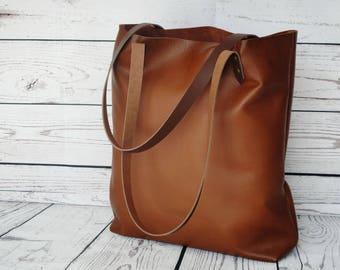 Cognac leather tote, nappa leather, shopper, leather bag, leather purse, nappa leather