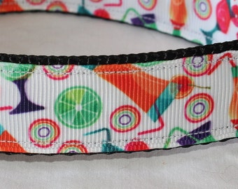 "Happy Hour Print Dog Collar - Side Release Buckle (1"" Width) - Martingale Option Available"