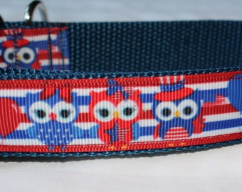 "Patriotic Owl Design Dog Collar - Side Release Buckle (1"" Width) - D-Ring Martingale Option Available"
