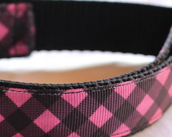 """Pink and Black Buffalo Check Dog Collar - Side Release Buckle (1"""" Width) - Martingale Option Available"""