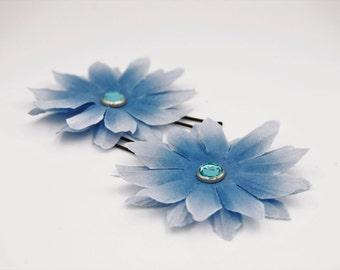 blue fabric flower hair pin, cream flower rhinestone hair pin, blue flower girl barrette, bridesmaid floral hair pin, blue floral barrette