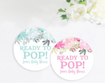 Custom Baby Shower Stickers, Floral Ready to Pop Stickers, Sticker Favor Tags, Gift Shower Favor Tags Stickers