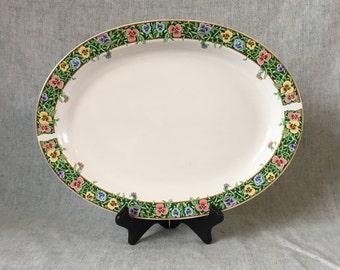 Vintage International Tableworks Velvet Faces Oval Platter, Pansy Dinnerware