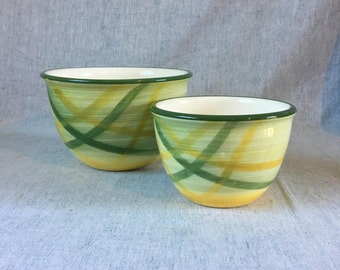 Vintage Vernonware Gingham Green Mixing Bowls, Set of 2