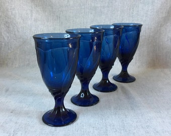 Vintage Noritake Cobalt Blue Sweet Swirl Iced Tea Glasses, Set of 4