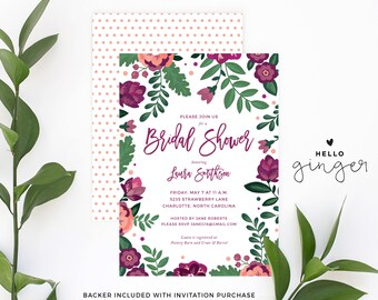 Printed Purple Floral Bridal Shower Invitation | Fall or Summer Purple and Green Jewel-Toned Bridal Shower Invitation