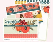 SEPTEMBER Monthly View Planner Sticker Set | Fits ECLP or Classic Happy Planner