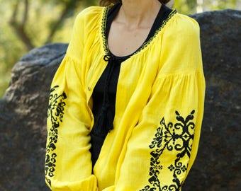 Ukrainian vyshyvanka. Boho style.  Chic nationale. Embroidered dress.