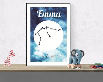 Custom Aquarius wall art, Zodiac constellation name print, Nursery space sign decor, Horoscope wall art