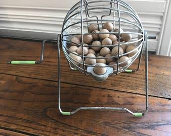 Wire Bingo Cage, Vintage Game Decor, Wooden Bingo Balls, Vintage Toys, Game Room Decor