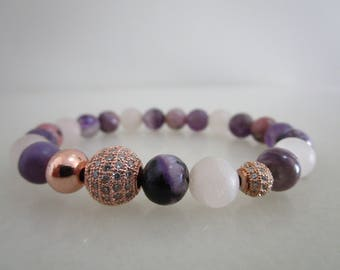 Amethyst, amethyst and Rose Quartz, rhodonite, natural stones bracelet, bracelet gift, gift for women, jewelry, jewelry for woman