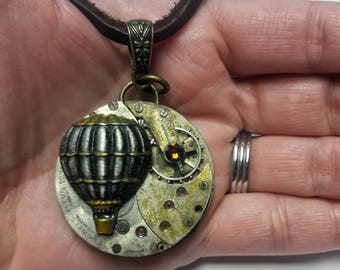 Antique Steampunk Hot Air Balloon Necklace, Steampunk Necklace, Hot Air Balloon Jewelry, Steampunk Jewelry, Time Travel Necklace, Watch