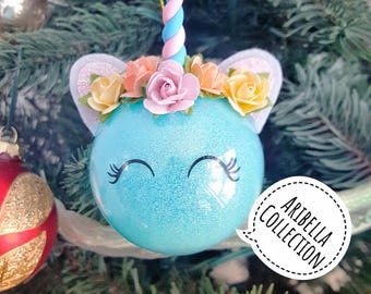 """Unicorn Ornament, Holiday Gift, Christmas Tree Decoration, READY TO SHIP, Little Girls Ornaments, Glitter, Clay Horn, 2.5"""" Plastic Ball"""
