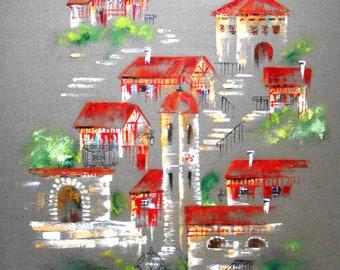 Grande toile Village du Pays Basque sur toile de lin huile au couteau axelle bosler