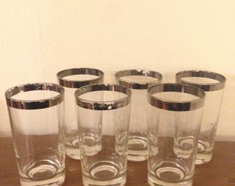 Silver Rimmed Tall Drinking Glasses