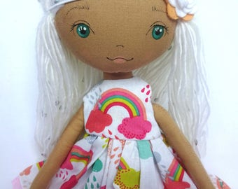 Sale! Handmade doll,cloth doll, pixie doll, rag doll, fabric doll. rainbow, heirloom doll, nursery,girlsroom, gift for girl, white hair, tan