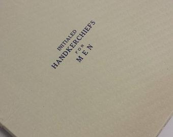 "Unused Set of 3 Vintage Loomerica Men's Monogrammed ""S"" Hand Rolled, Hand Embroidred Handkerchiefs, In Original Box"
