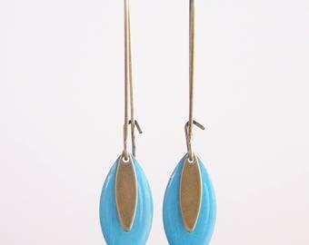 Sequin turquoise enamel earrings
