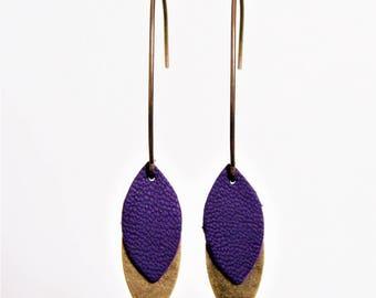 Dark purple leather and brass petals earrings
