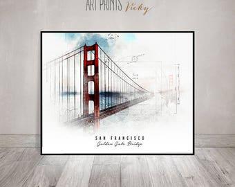 San Francisco Golden Gate Bridge poster contemporary art print   ArtPrintsVicky.com