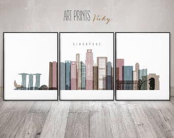 Singapore art prints, Singapore set of 3 pieces posters, watercolor wall art, travel, large wall art, distressed, home decor, ArtPrintsVicky